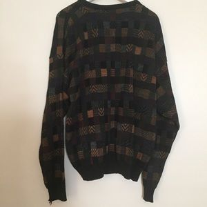 Mens Vintage Black Brown Check Graphic Sweater